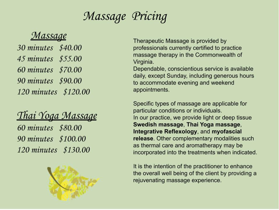 Massage Information and Pricing